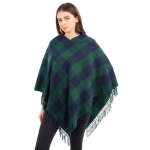 CP1612 Buffalo Plaid Pattern Poncho with  Side Tassels, Green