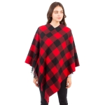 CP1612 Buffalo Plaid Pattern Poncho with  Side Tassels, Red
