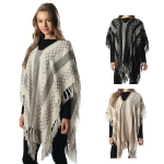 CP6203 Mixed Pattern Fringed Poncho