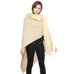 CP7517 Faux Fur Trimmed Cape Shawl, Ivory
