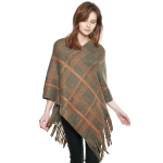 CP8615 Check Plaid Pattern Fringed Poncho, Olive