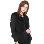CP8631 Bold Chevron Faux Fur Vest, Black