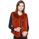 CP8631 Bold Chevron Faux Fur Vest, Rust