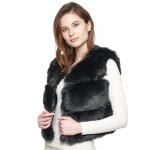 CP8632 Short Faux Fur Vest, Black