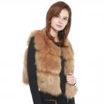 CP8632 Short Faux Fur Vest, Taupe