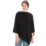 CP9921 Solid Light-weight Cashmere Blended Poncho, Black