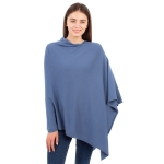 CP9921 [NEW]  Solid Light-weight Cashmere Blended Poncho, Blue
