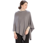 CP9921 Solid Light-weight Cashmere Blended Poncho, Grey