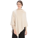 CP9921 Solid Light-weight Cashmere Blended Poncho, Ivory