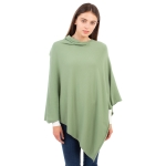 CP9921 [NEW] Solid Light-weight Cashmere Blended Poncho, LT.Green
