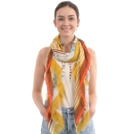 CS0001 Floral & Stripes Pattern Scarf, Mustard