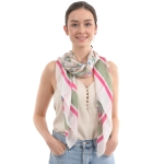 CS0033 Small Floral & Stripe Pattern Silky Scarf, Olive