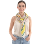 CS0033 Small Floral & Stripe Pattern Silky Scarf, Yellow