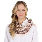 CS0042 Multi Leaves Pattern Silky Square Scarf - Brown