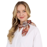 CS0044 Multi Color Paisley Print Square Scarf, Brown