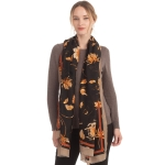 CS0145 Flower Pattern W/Gold Accent Scarf, Black