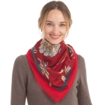 CS0145 Flower Pattern W/Gold Accent Scarf, Burgundy
