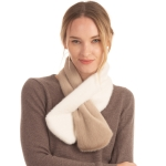 CS0158 Two Tones Slit Scarf, Taupe
