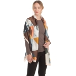 CS0162 Abstract Pattern Sheer Silky Scarf, Beige