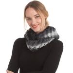 CS0167 Dual Color Faux Fur Infinity Scarf, Black