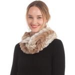 CS0167 Dual Color Faux Fur Infinity Scarf, Taupe