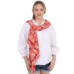 CS1003 Broken Tile Mosaic Pattern Scarf, Red