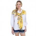 CS1006 Flower Tie-dye Pattern Scarf, Yellow