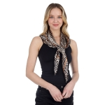 CS1007 Silky Leopard Pattern Square Scarf