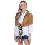 CS1008 Solid& Leopard Pattern Scarf, Coffee