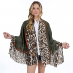 FS028 Solid Color w/Leopard Pattern Scarf, Olive