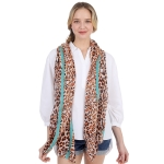 CS1033 Cheetah & Solid Line Pattern Silky Scarf, Orange