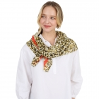 CS1033 Cheetah & Solid Line Pattern Silky Scarf,  Yellow