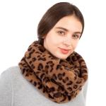 CS1104 Leopard Pattern Faux Fur Infinity Scarf