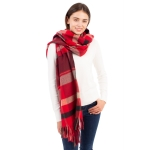 CS1107 Multi Color Plaid Pattern Scarf, Red