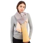 CS1108 Tri-color Ombre Pleated Scarf, Grey