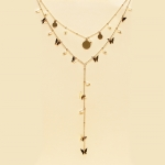 CS-1348 Little Butterfly and Pearl Charm Double Layered Necklace, IVP