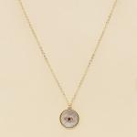 CS-1358 Circle Opal Third Eye Charm Necklace, Gold