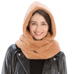 CS8407 Soft Faux Fur Hooded Infinity Scarf, Camel