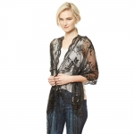 CS9114 Flower Sequin Party Shawl Scarf, Black
