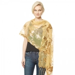 CS9114 Flower Sequin Party Shawl Scarf, Gold