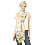 CS9122 Flower Print Viscose Scarf, Yellow