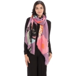 CS9220 Bold Floral Print Scarf, Purple