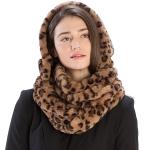 CS9222 Printed Faux Fur Infinity Scarf With Hood, Animal