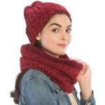 CS9238 Solid Chenille Lined Infinity Scarf & Hats Set, Burgundy