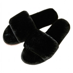 CSL009 Solid Color One Strap Faux Fur Slipper, Black