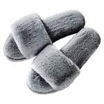 CSL009 Solid Color One Strap Faux Fur Slipper, Grey