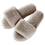 CSL009 Solid Color One Strap Faux Fur Slipper, Taupe