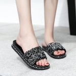 CSL105 Solid Glitter Comfy Slipper, Black