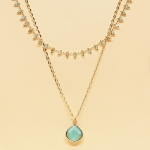 CSX-1143 Solid Beads & Charm Double Layered Necklace, TQ.TQAB