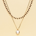 CSX-1143 Solid Beads & Charm Double Layered Necklace, WTP.BL